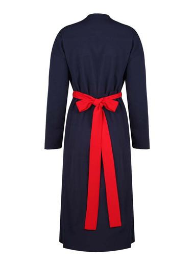 Mizalle Dokulu Desen Kuşaklı Elbise Lacivert